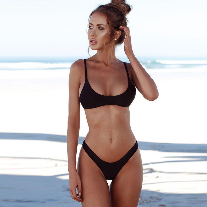 98cb2436481 Compre Sexy Bikinis Sólido Traje De Baño 2018 Halter Top Swimwear Push Up  Trajes De Baño Beachwear Bikini Brasileño Más Tamaño S XXL A  9.95 Del  Jessicazeng ...