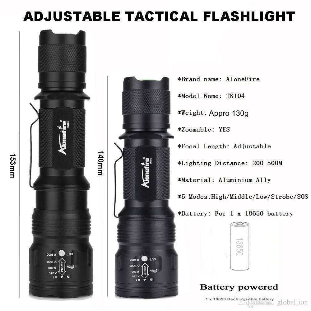 AloneFire TK104 CREE L2 LED Tactical flashlight Outdoor Hunting Camping Lantern bike mount remote control for 1 x 18650 battery