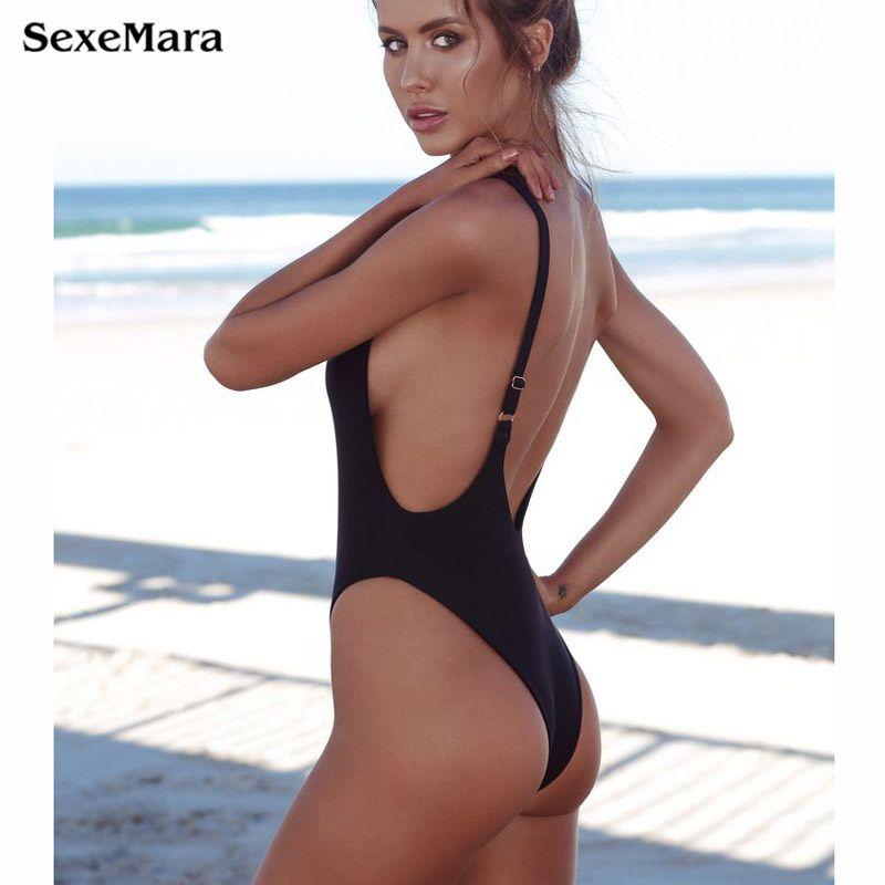 22769639fc1 2019 Thong Black 2018 Sexy One Piece Swimsuit Solid Female Women Fused Swimwear  Backless White Brazilian May Bather Monokini XL From Walon123, ...