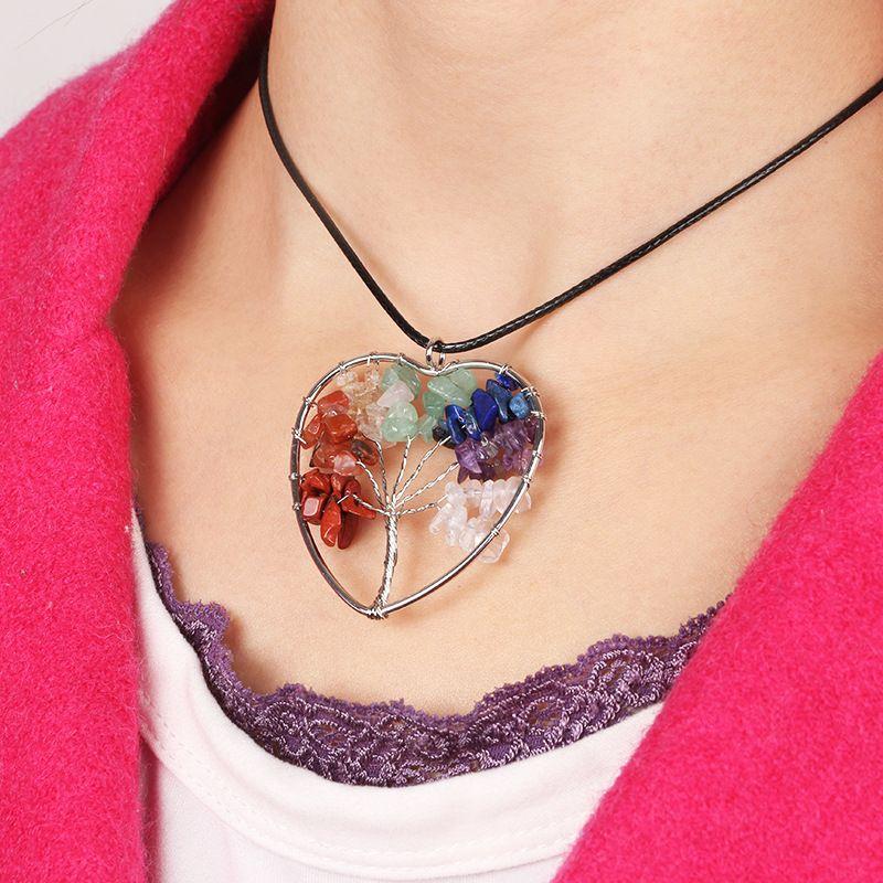 Women Rainbow 7 Chakra Amethyst Tree Of Life Quartz Chips Pendant Necklace Multicolor Wisdom Tree Natural Stone Necklace