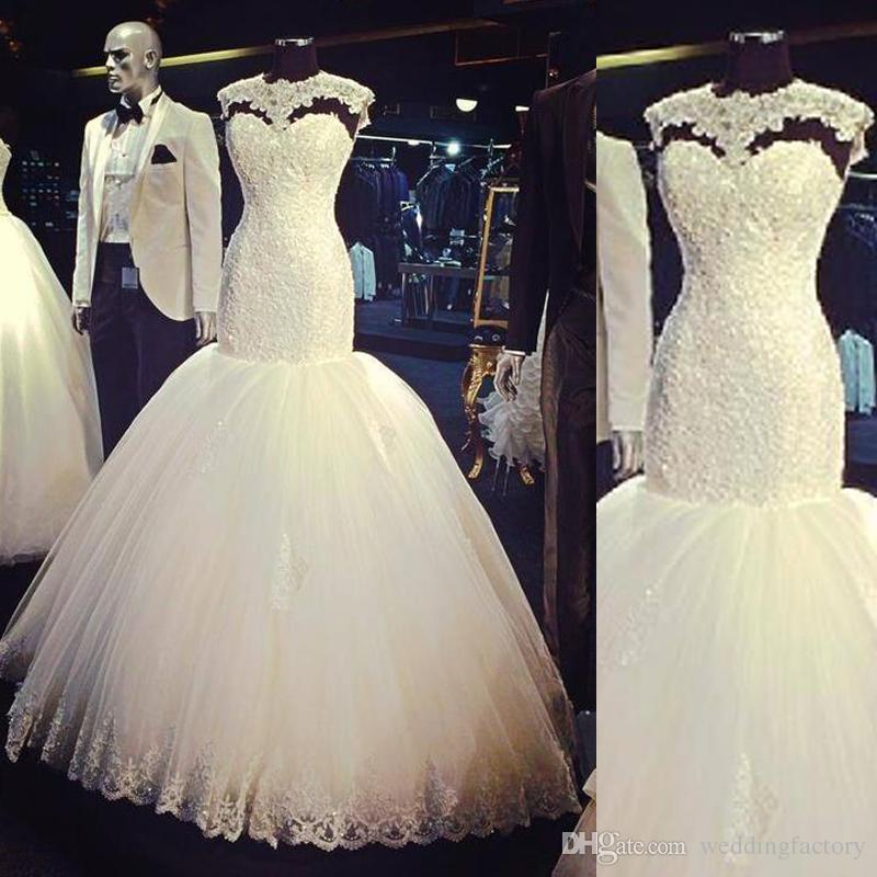 f8e817dfbf2 Wedding Dresses Trumpet Mermaid Wedding Dress Jewel Neck Sleeveless Lace  Appliques Puffy Tulle Skirt Scattered Beads 2018 Bridal Gowns Weding Dress  ...