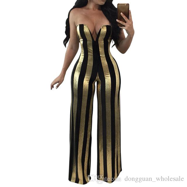 7ca55eb38d7 2019 Women Gold Striped Sexy Rompers Jumpsuit Strapless Bodycon Party Club  Jumpsuit Overalls From Dongguan wholesale
