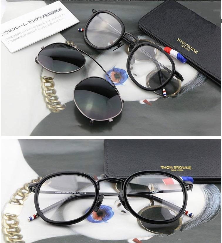 75aae423eb758 Compre Qualidade Original New York Marca Eyewear Óculos De Sol Thom Tb710  Armações De Titânio Homens E Mulheres Óculos Duplos Quadro Gafas Oculos De  Sol De ...