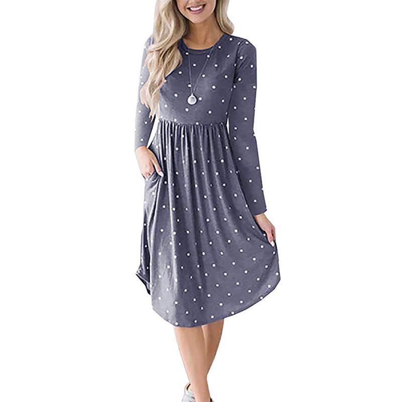 74ba6bf4c166 Women Dress 2018 Dot Midi Dress Casual Long Sleeve Pockets Autumn Loose O  Neck Beach Dress Fashion Pleated Dresses Vestido Floral Dresses Beautiful  Dresses ...