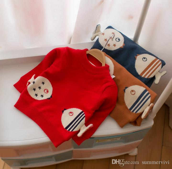216c2459b Girls Cartoon Sweater Kids Stars Stripe Fish Pattern Pullover ...