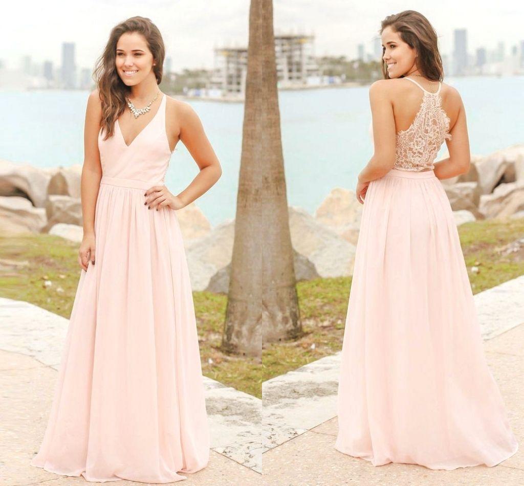 99e21157a Elegante Pink Long Chiffon País Vestidos de dama de honor Playa de verano  Vestidos de dama formal de honor Vestidos de invitados de boda baratos por  ...
