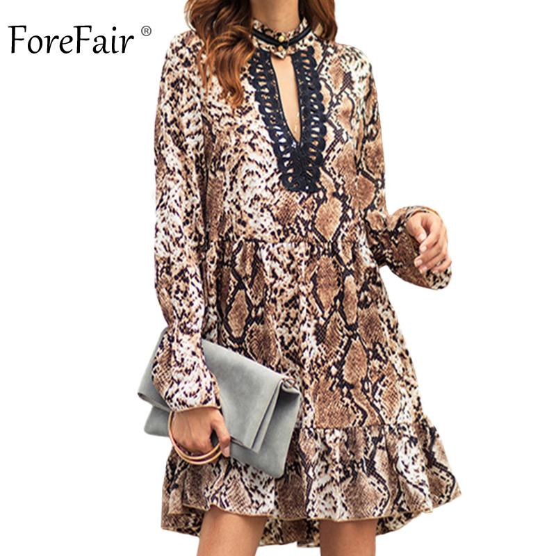 9f0a44acf96 Forefair Women Snakeskin Dress Autumn Winter Long Sleeve Lace Patchwork V  Neck Sexy Casual Dress Female Womens Formal Dresses Formal Gown From  Burtom