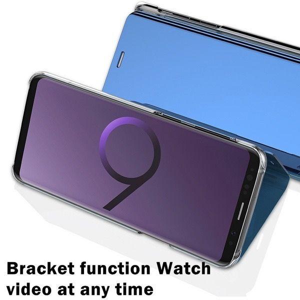 Caso oficial do espelho wallet para iphone x 8 7 plus 6 6s galaxy s9 s9 + nota 8 / s8 / s7 / edge / s6 chapeamento de couro inteligente janela metálica cromada