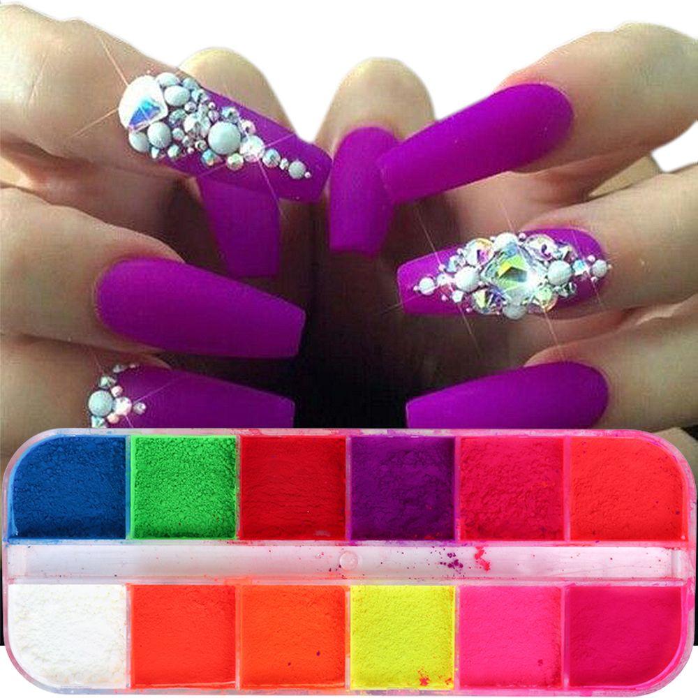 1 Case Gradient Nail Powder Neon Pigment Fluorescence Glitters Dust