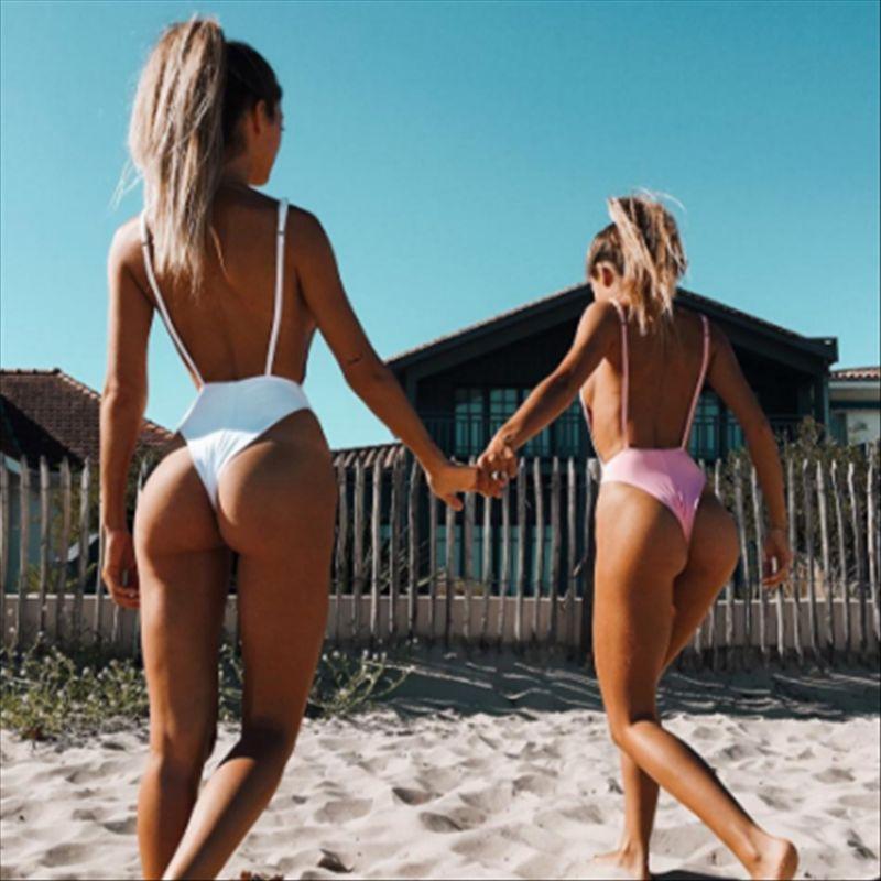 01cdc86100e8f 2019 Sexy Swimwear Solid One Piece Thong Swimsuit 2018 Bandage Bathing Suit  Women Summer Beach Wear Monokini Halter Bodysuit Swimsuit From Sports86, ...