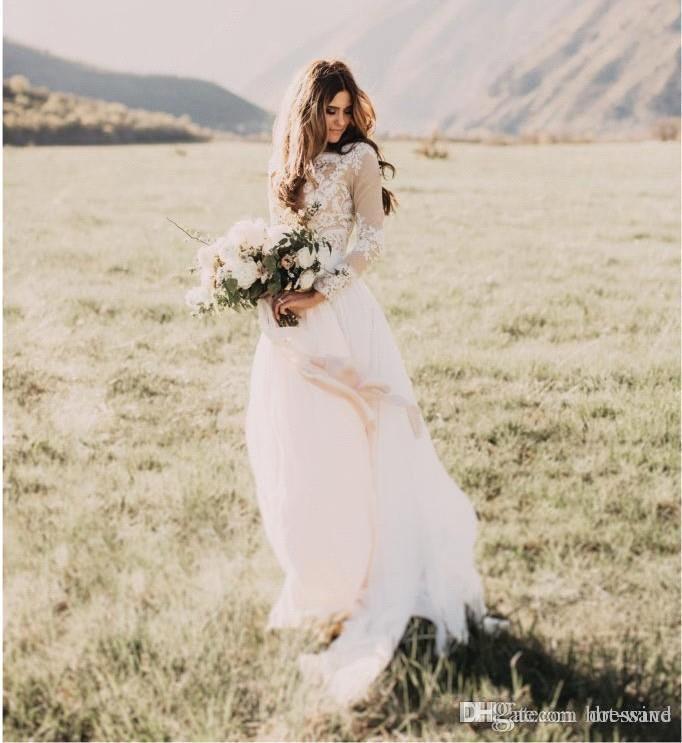 Böhmischen Land Brautkleider mit schiere langen Ärmeln Bateau-Ausschnitt eine Linie Spitze Applique Chiffon Boho Brautkleider billig