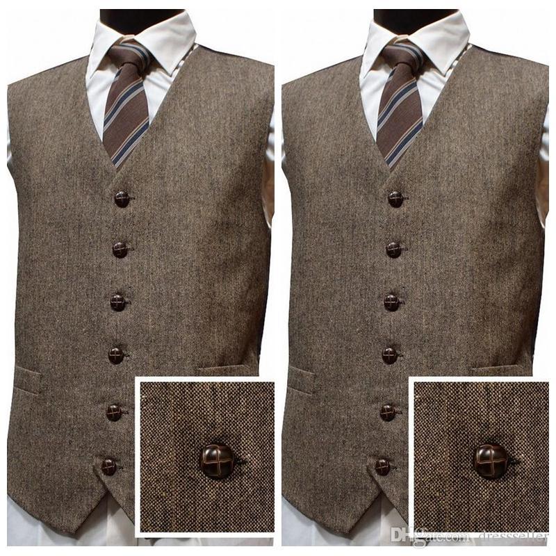 b92e12c0119 2019 Latest Farm Wedding Wool Tweed Vests Custom Men Groom Vests Slim Fit  Mens Dress Suit Vest Prom Wedding Groomsmen Vests Plus Size Silver Vest For  Men ...
