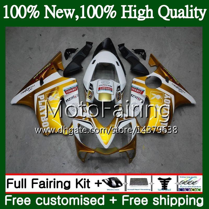 Cuerpo para HONDA CBR600F4 Blanco dorado CBR600 F4 99 00 FS 44MF19 CBR 600F4 99 CBR600 FS CBR600FS CBR 600 F4 1999 2000 Kit de carrocería para carenado