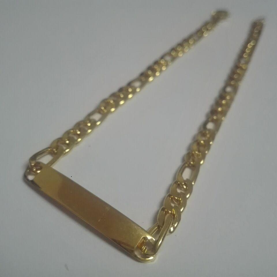 5 pçslote Lote 4.5mm 22 cm 8.66 polegada mulheres mens Moda aço Inoxidável em massa de Ouro figaro Link chain pulseira pulseira jóias