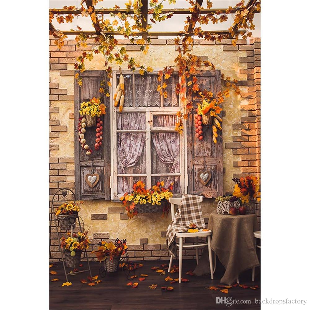 Autumn Photography Backdrops Printed Maple Leaves Brick Wall Old Wood Window Basket Yellow Flowers Kids Photo Studio Backgrounds