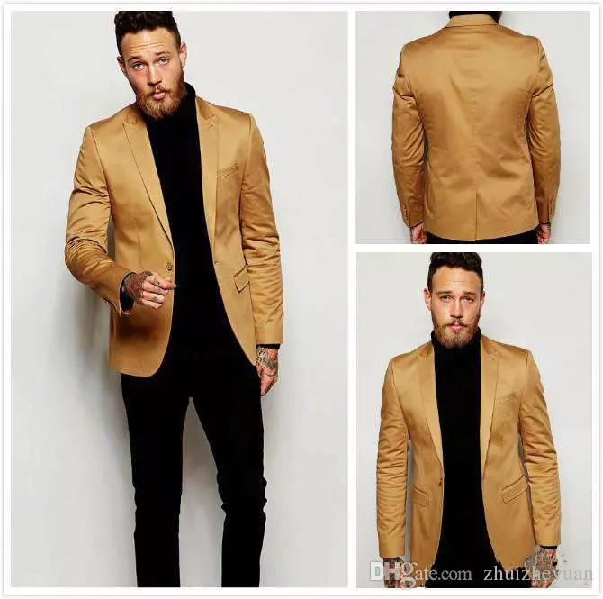 Cheap Handsome Gold Men Jacket Wedding Suits Slim Fit Bridegroom Suit Party Prom Suit Custom Made Only The Jacket