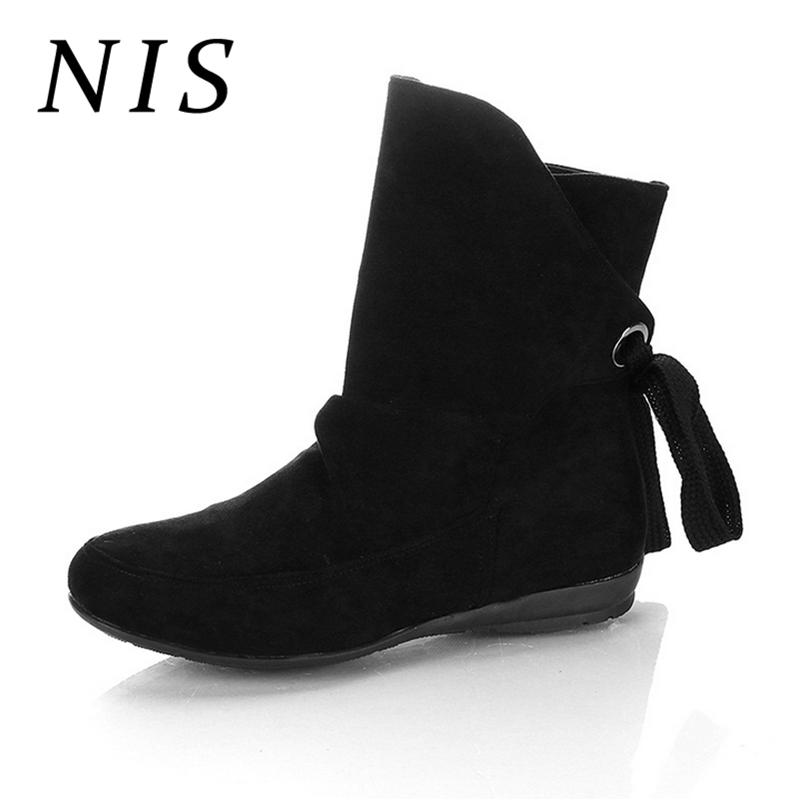 c7239968381 NIS Back Lace Up Faux Suede Ankle Boots For Women Shoes Woman Winter Boots  Flat Heel Casual Slip On Women Booties Botas Mujer Bootie Buy Shoes Online  From ...
