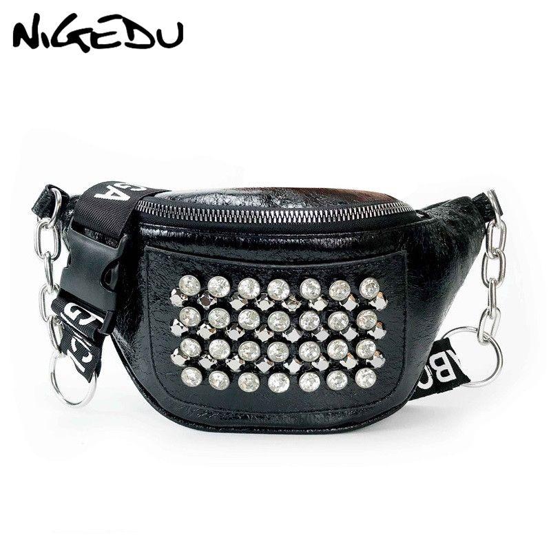 411e1524259c Fashion Shining Rivet Waist Bag Women Fanny Packs Luxury Diamond Design  Belt Bags For Woman Crossbody Bag Chain Small Chest Pack Belt Bags Kavu  Backpacks ...