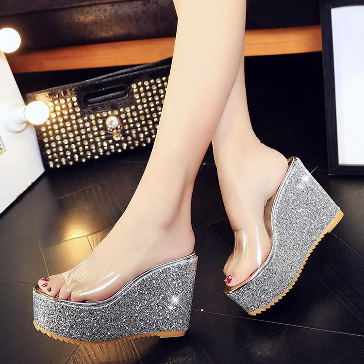 be79f046f21 Silver Sequins Heels Peep Toe Bling Shoes Women Summer Wedge Casual  Slippers Studded Sandals Golden Glitter Platform Shoes 3082 Formal Shoes  Rubber Boots ...