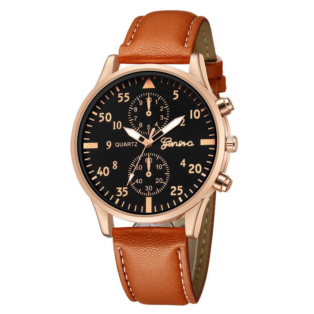 f2b5fc912772 Compre Reloj Hombre Reloj Pulsera De Cuero Para Hombres Negocio Para Hombre  Regalos Redondos Reloj De Pulsera Analógico Quart Marca De Alta Calidad A   20.23 ...