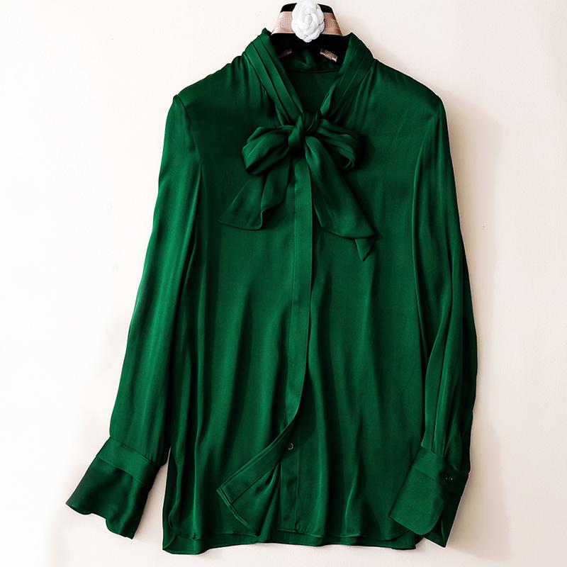 9e50cafeb4f 2019 Solid 100% Silk Women Shirt Full Sleeve Bow Collar Green Shirt ...