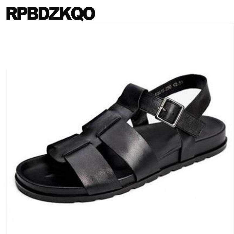 62c4c49bc2bf 2018 Italian Open Toe Black Shoes Beach Sneakers Roman Men Gladiator Sandals  Summer Genuine Leather Runway Strap Designer Casual Fringe Sandals Silver  ...