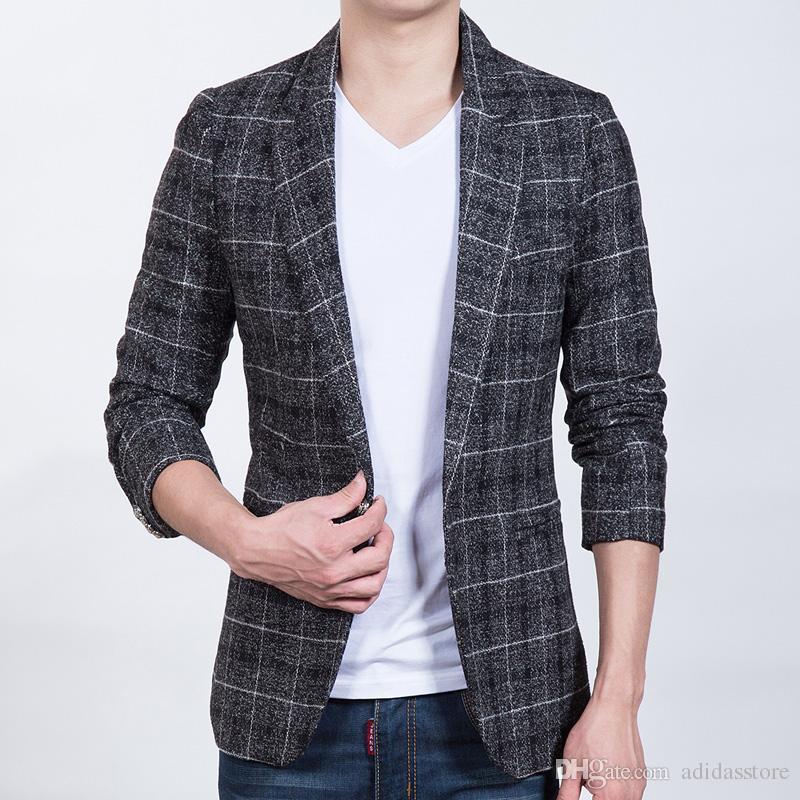3243ce18d2 Acquista Moda Uomo Giacca Sportiva Blazer Uomo Plaid Panno Di Lana Slim Fit  Suit Maschile Coreano Design Casual Equipaggiato Giacca Giacche Uomo A  $74.12 ...
