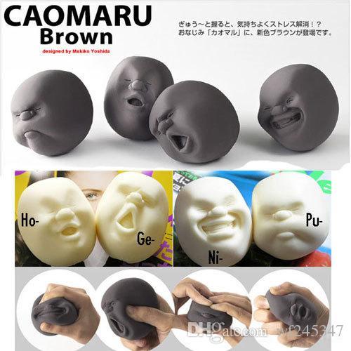 Boule anti-stress visage humain de conception japonaise Cao Maru Caomaru Blanc Noir Drôle Décompression Jouet Cadeau