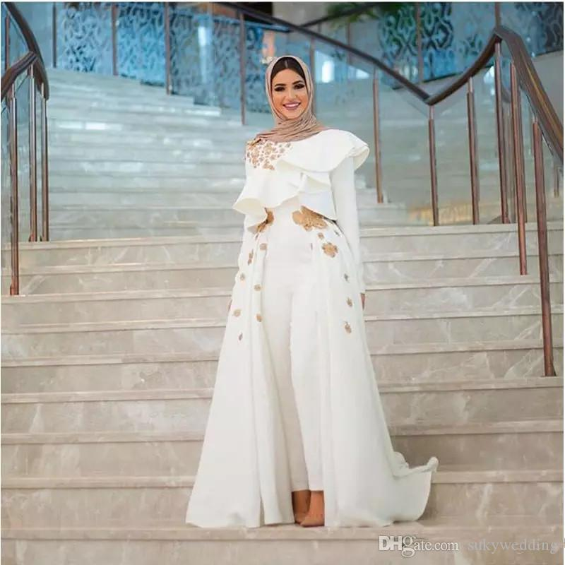 e3db27ad287 White Muslim Jumpsuit Prom Dresses Pants With Detachable Train Jewel Neck  Long Sleeves Appliques Lace Ruffles Celebrity Gown Sweep Train Navy Blue  Prom ...