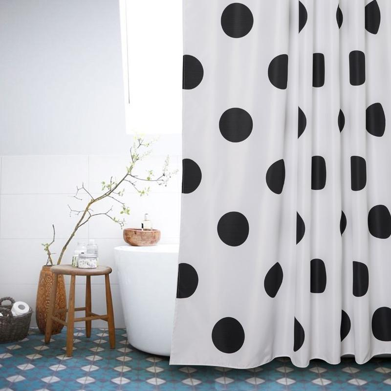 2019 Memory Home White Black Dots Shower Curtains Polyester