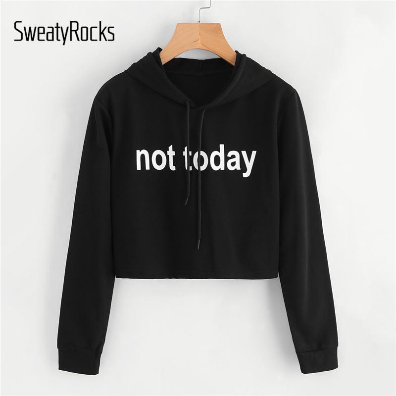 f10eda9ce9c4f Slogan Carta Hoodie Print Compre Negras Crop Sudaderas Sweatyrocks t0YqwF4