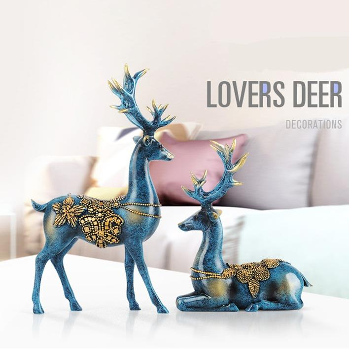 Commercio all'ingrosso 2 Pz / paia Resina Amore Deer Ornamenti HandiCraft Miniature Cervo Figurine Home Decor Regali di Nozze Spedizione Gratuita