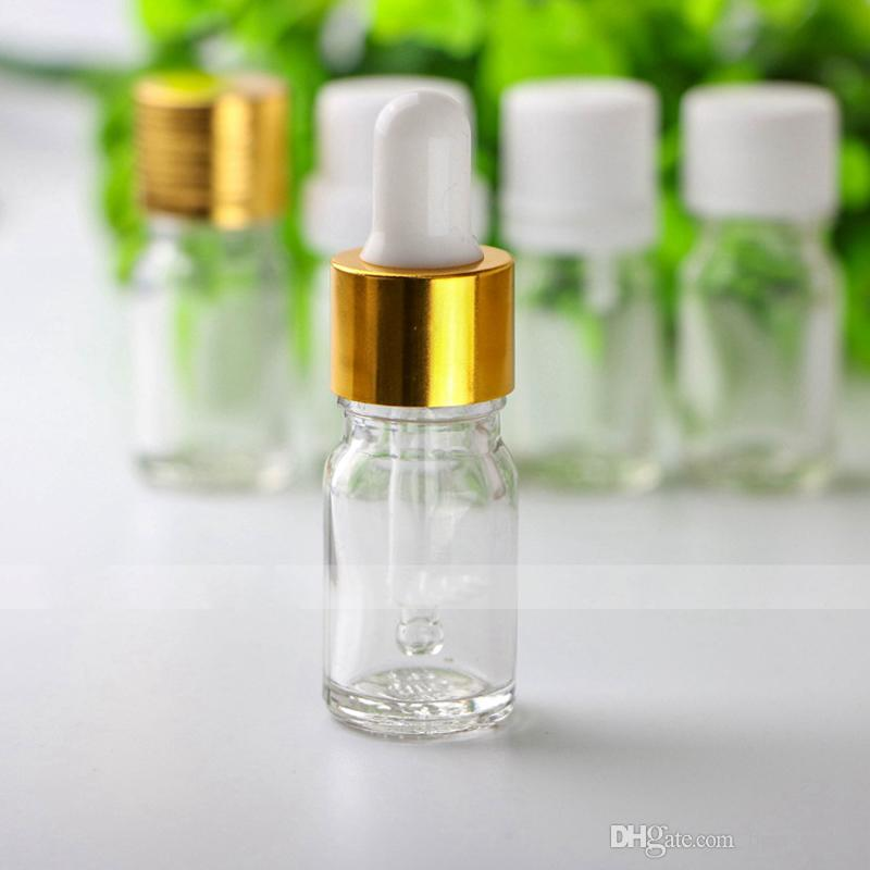 Wholesale Price 5ml Clear Glass Dropper Bottles , 5ml Small Glass Bottles for Essential Oils Aromatherapy Free DHL Shipping