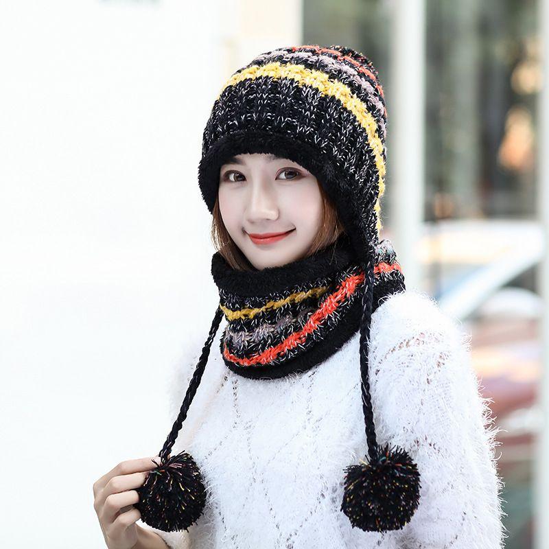 4ca63c954cd Women Winter Knitted Thickened Beanie Cap Scarf Set Bonnet Warm Baggy Winter  Hat Best Sale WT Bucket Hats Beanie From Jianyue16