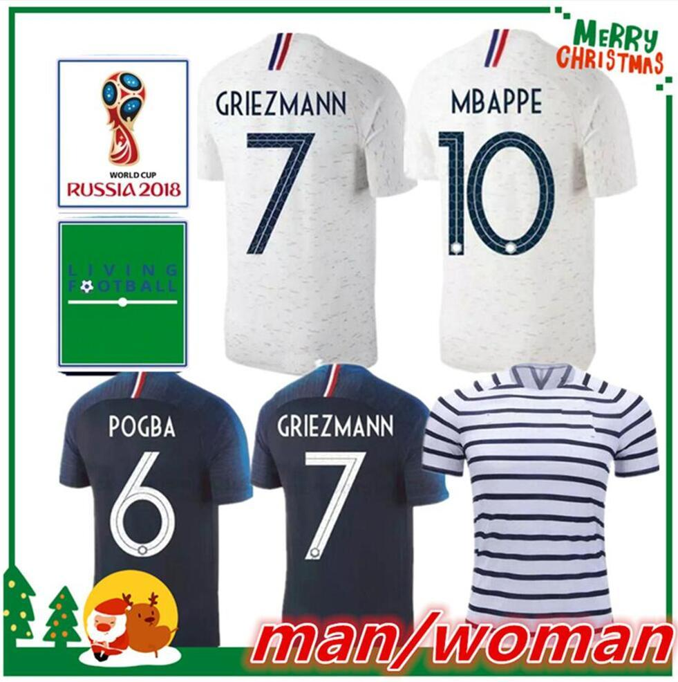 Two Stars 2018 MBAPPE Soccer Jerseys World Cup Franceing GRIEZMANN ... 94a37e1a2