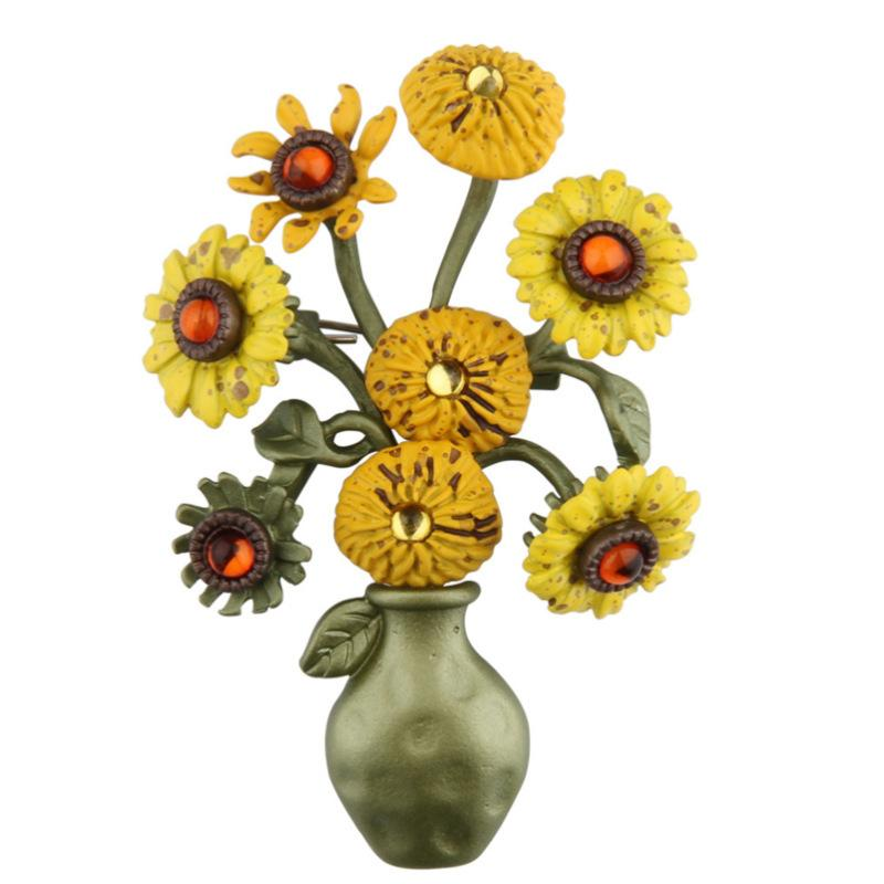 2018 Maam Fashion Sunflower Vase Green Roast Lacquer Brooch Broth
