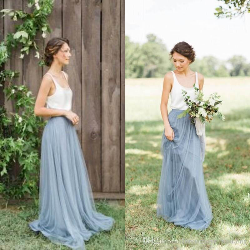 Vintage Two Tone Bridesmaid Dresses Garden Beach Wedding Maid of honor Floor Length Long Formal Gowns Scoop Neck Sleeveless Tulle