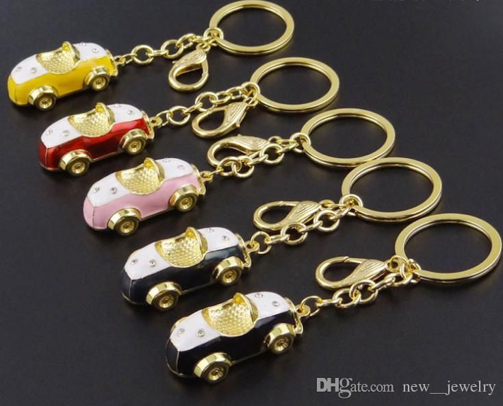 High Quality Metal Alloy Car Pendant Keychain Small Car Model Key Chains Keyrings Couple Jewelry Accessories Gifts