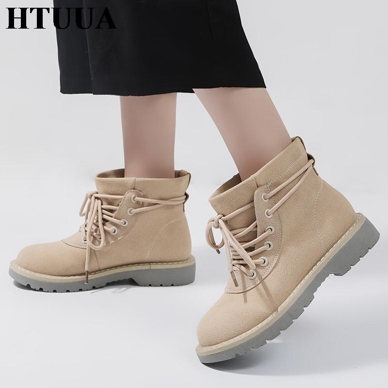 eecd81da6aa6b HTUUA Autumn Winter Lace Up Casual Ankle Boots For Women Cross Strap Martin  Boots Flat Platform Shoes Short Bootie SX1803 Chukka Boots Ladies Shoes  From ...