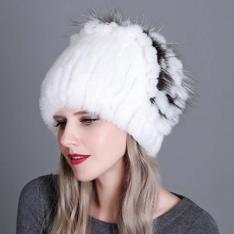 Women Warm Genuine Fur Hats Natural Rex Rabbit Fur Fox Skin Top Mushroom  Shape Caps 2018 Winter New Female Casual Beanies Knit Cap Slouch Beanie  From ... cd17bd85404