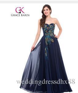 bceffb3d6528d Grace Karin Strapless Peacock Evening Dress Long Chiffon Embroidery Formal  Evening Gowns Robe De Soiree Wedding Prom Dress 2018
