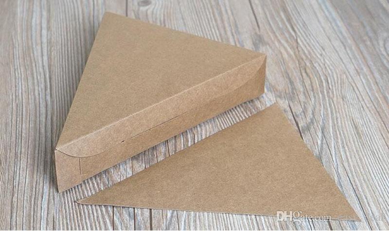 Треугольник крафт-бумага коробка пиццы пустой пирог сыр торт вынос упаковочные коробки партии закуски конфеты упаковка ZA6101