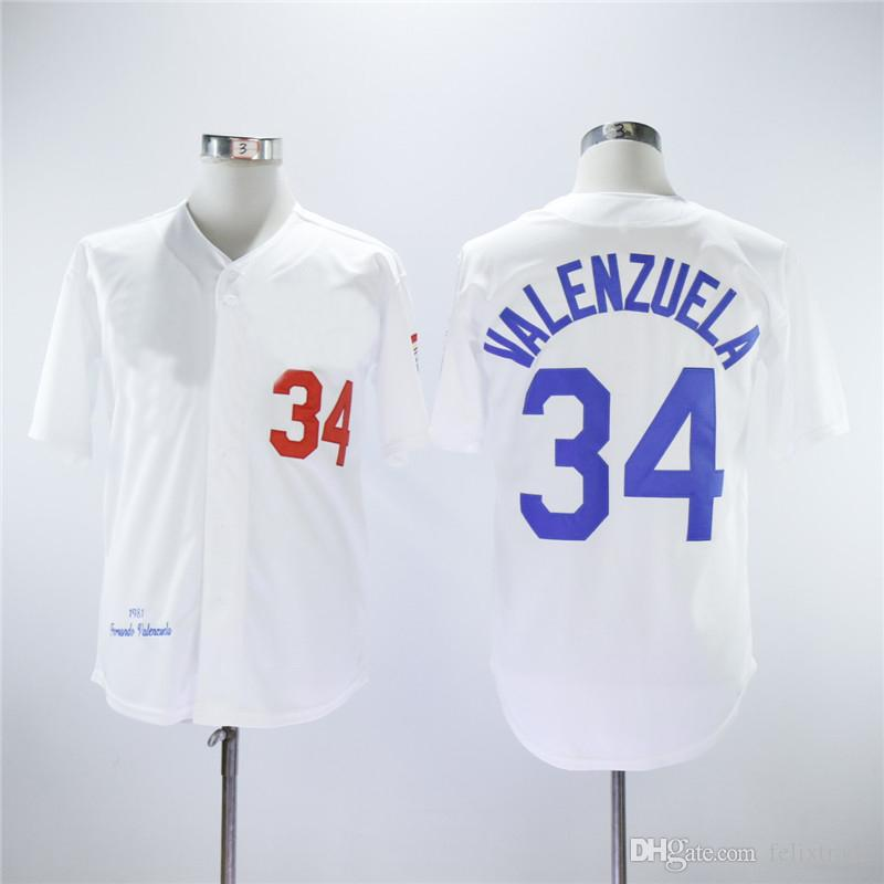 2019  34 Fernando Valenzuela Los Angeles 1981 Throw Back Baseball Jersey  High Quanlity Polyester Double Stiched Logo   Name   Number IN STOCK From  ... b55c54755