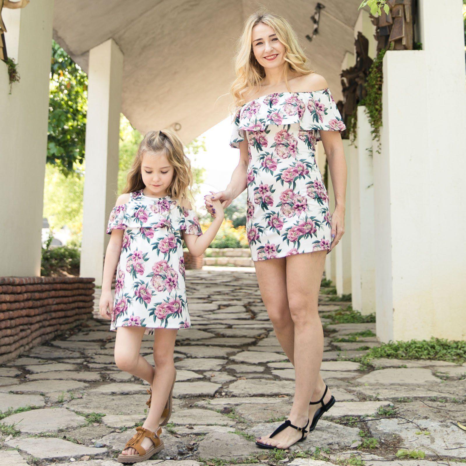 0c214b53b645 Mother And Daughter Dresses Summer Girls Floral Printed Dew Shoulder  Princess Dress Sexy Women Falbala Slash Neck Slim Dress Y1173 Mom And Me  Matching ...