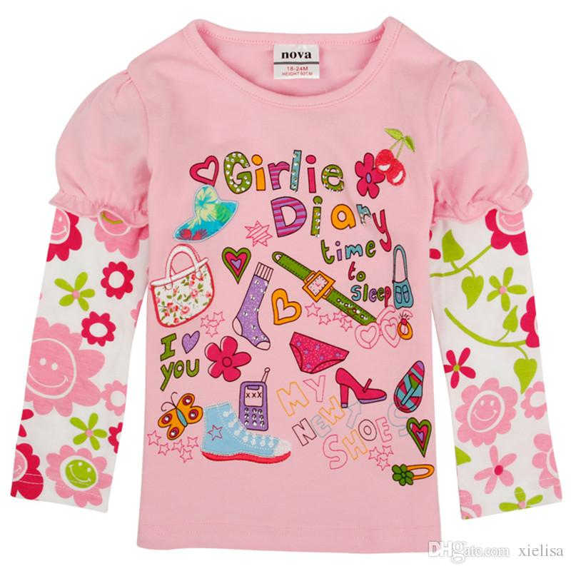 2018 leaf pink colour fringe baby girls clothes girl t shirt 2018 girls fashion baby printed floral girl t shirts children clothing casual