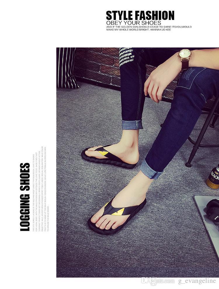 2017 Göz Canavar Yaz erkek ayakkabı için flip flop gevşek uydurma erkekler plaj terlik, kauçuk flip-flop açık masaj erkekler sandalet