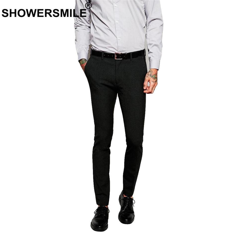 3dc92a0d6a ... Negro Slim Fit Pantalones De Vestir Hombres Algodón Traje Elástico Pantalones  Traje De Trabajo Masculino Negocio Otoño Pantalones De Oficina Para La ...