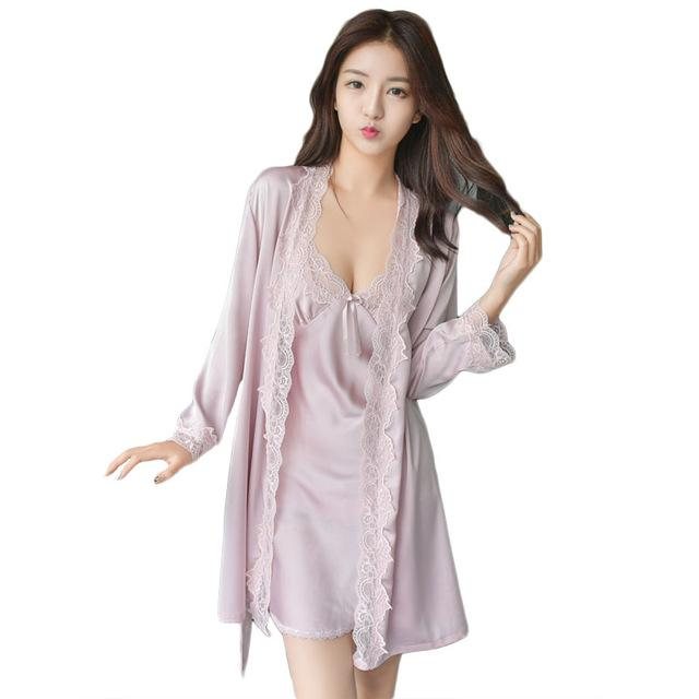 2018 New Design Women Robe & Gown Set Silk Mini Nightdress + ...