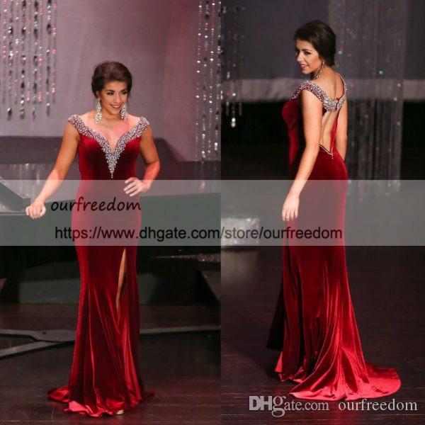 Miss West Fargo 2019 robe de soirée sirène col en V perles cristal côté fente velours dos nu formelle robes de bal d'occasion sur mesure