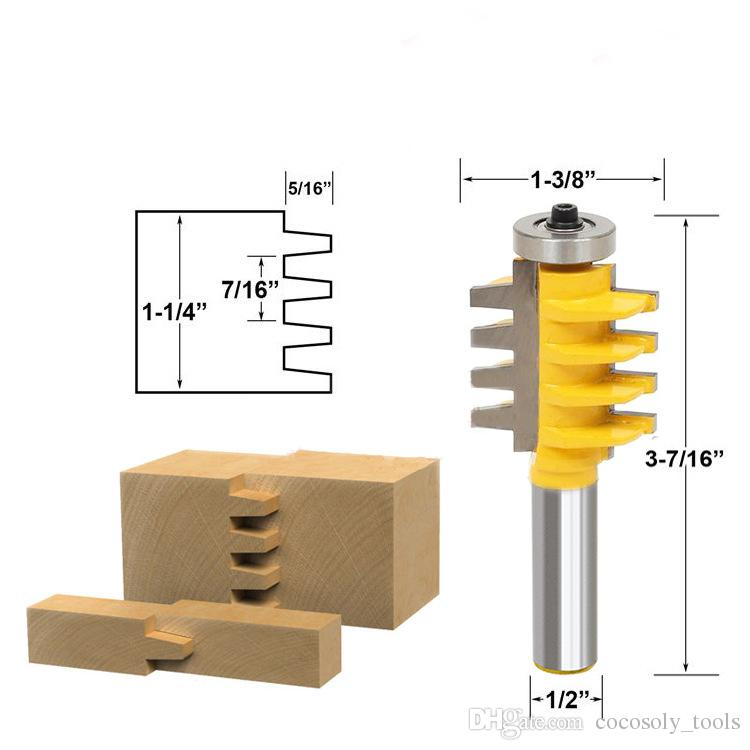 "Cocosoly 1/2"" Shank Rail Reversible Finger Joint Glue Router Bit Cone Tenon Woodwork Cutter Power Tools Wood Router Cutter"